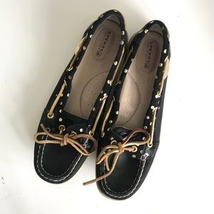 Sperry Angelfish Gold Dot Black Boat Shoes | 8.5